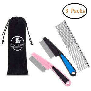 Flea Comb,Pet Comb Laiannwell Professional Grooming Comb for Dog/Cat/Small Pets (3 Packs) 13