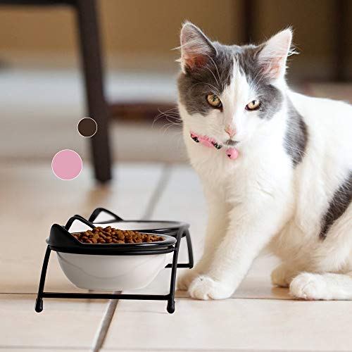 Y YHY Ceramic Raised Pet Cat Bowls, 12 Ounces Elevated Food or Water Bowls, Double Cat Dishes, Gift for Cat