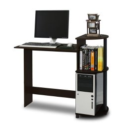 FURINNO Compact Computer Desk with Shelves, Round Side, Espresso/Black
