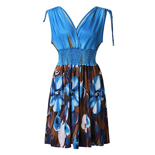 Xinantime Summer Beach Dress Women Plus Size Dress Backless for Ladies Party Evening Dress Light Blue