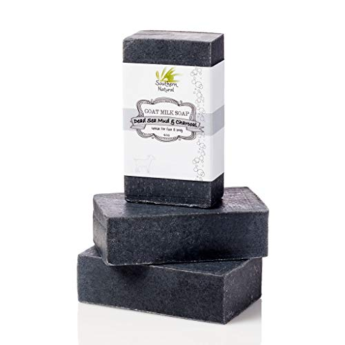 Activated Charcoal Soap Bars With Dead Sea Mud - For Acne, Psoriasis & Eczema. All Natural Face Cleanser & Body Soap. Made With Goat Milk & Peppermint Essential Oil. (3 BARS)