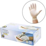 200 Medium Measurement Disposable Latex Gloves, Powder Free, Easy Contact, Meals Service Grade, Non-Sterile [2×100 Pack]