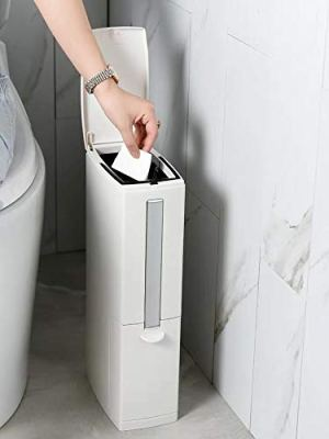 Cq acrylic Slim Plastic Trash Can 1.3 Gallon,Trash can with Toilet Brush Holder,5 Liter Garbage Can with Press Top Lid,White Rectangular Modern Waste Can for Bathroom