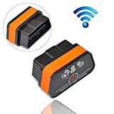 iKKEGOL iCar 2 Mini OBD2 OBD II WiFi Car Diagnostic Scan Tool for IOS iPhone iPad PC with Switch Auto Sleep(Black+Orange)