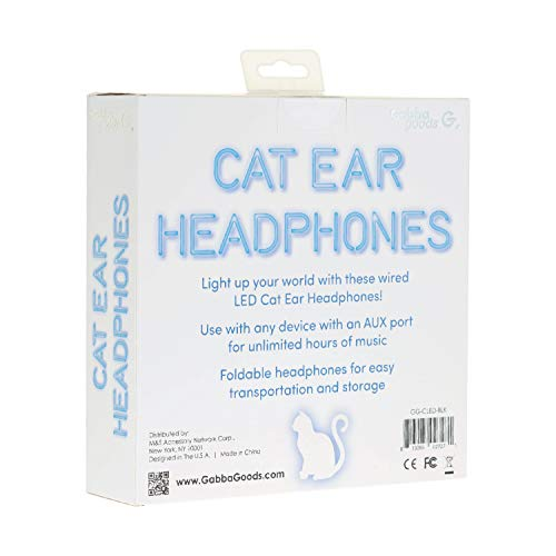 Gabba-Goods-Premium-LED-Light-Up-in-The-Dark-Cat-Over-The-Ear-Comfort-Padded-Stereo-Headphones-with-AUX-Cable-Earphones-Cat-Black