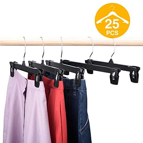 HOUSE DAY Skirt Hangers 25 Pcs 10inch Black Plastic Pants Hangers with Non-Slip Big Clips and 360 Swivel Hook, Durable Sturdy Plastic, Space-Saving Shape, Elegant for Closet Organizing