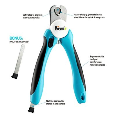 BOSHEL-Dog-Nail-Clippers-and-Trimmer-with-Safety-Guard-to-Avoid-Over-Cutting-Nails-Free-Nail-File-Razor-Sharp-Blades-Sturdy-Non-Slip-Handles-for-Safe-Professional-at-Home-Grooming