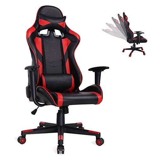 AuAg Ergonomic Gaming Chair Racing Style Adjustable High-Back PU Leather Office Chair Computer Desk Chair Executive Ergonomic Style Swivel Video Chair Headrest Lumbar Support (Red)