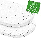 MakeMake Organics Organic Cotton Bassinet Sheet (Set of 2) GOTS Certified Organic Bassinet Mattress Pad Cover Ultra Soft Breathable Fits Hourglass Rectangle Oval (15'x33'+4', Polka Dot & Stars, White)