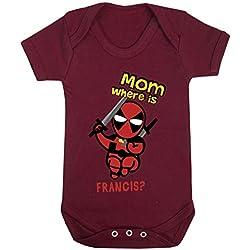 Little Deadpool Marvel Funny Print Baby Bodysuits Hypoallergenic Cotton (3-6 Months, Maroon)
