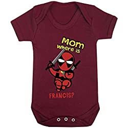 Little Deadpool Marvel Funny Print Baby Bodysuits Hypoallergenic Cotton (3-6 Months, Maroon)