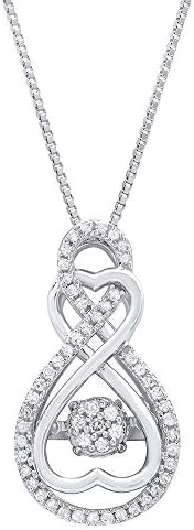 """Dancing Diamond""""Forever Love"""" Two-Hearts Pendant Necklace in 925 Sterling Silver by Parade of Jewels (1/4 ct.tw.), 18″"""