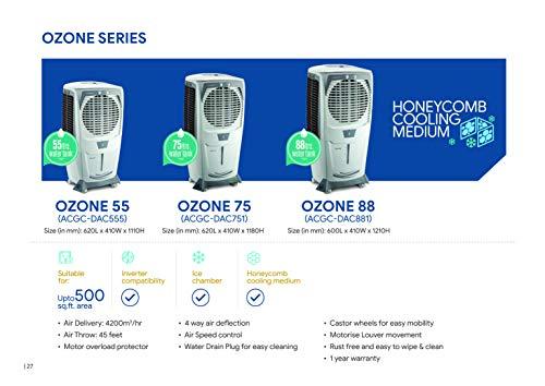 41W8BDFF6ZL - Crompton Ozone Desert Cooler - 55 Litres, Grey & White