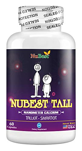 Maximum Natural Height Growth Formula - NuBest Tall 60 Veggie Capsules - Herbal Peak Height Pills - Grow Taller Supplements - Nanometer Calcium - Doctor Recommended