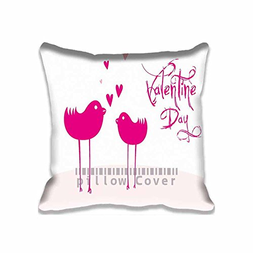 Home Decorative Cotton and Polyester Throw Pillow Cover Valentine Days 2015 Pillowcase with Hidden Zipper Closure 18x18inch for Living Room,Sofa,Bed