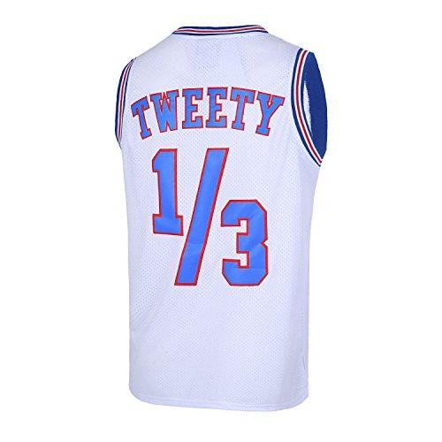Mens Basketball Jersey 1/3 Tweety Space Jam Jersey White 90S Shirts (Medium)