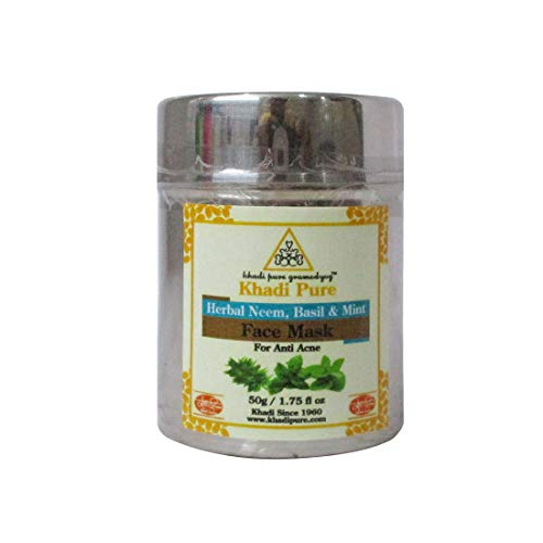 41WICuu3ARL - Khadi Pure Herbal Neem, Basil & Mint Face Mask (Anti-Acne), 50 g