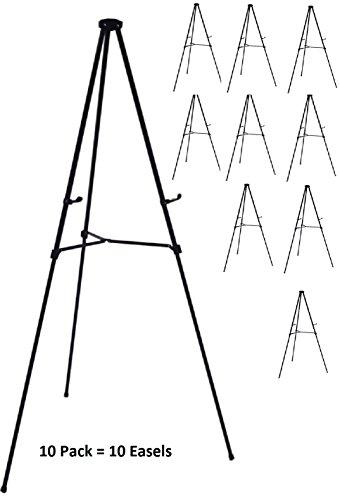 Pack of 10 Lightweight Aluminum Telescoping Display Easel, Black (10 pack)