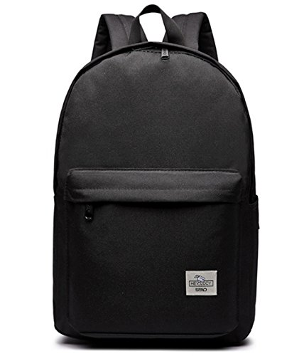 3ddc8606c5d4 LuckyZ Casual Style Lightweight Canvas Backpack Pure Color Bookpack College  Student School Bag Travel Daypack Medium