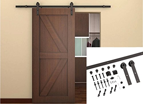 Unionline US Style 6.6 Ft Homewares Sliding Wood Barn Door Hardware Sliding Track Kit Straight Roller