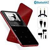 MP3 Player - [2019 May Newest Model] Bluetooth 4.2 Thin Body 2.4'' TFT & 2.5D Sides Curved Large Screen Player Built-in Speaker, with Voice Recorder & FM, Expandable 128GB TF Card, H6Red