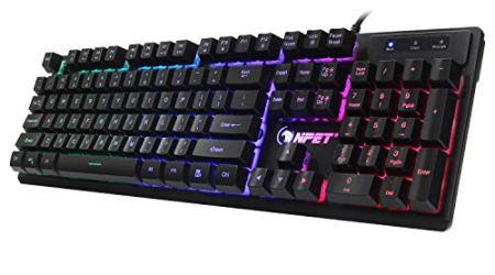 NPET K10 Wired Backlit Floating Gaming Keyboard, Mechanical Feeling Rainbow Illuminated Gaming Keyboard for PC, Laptop, Computer