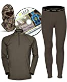 HECS Suit Turkey Base Layer Hunting Clothing with Human Energy Concealment Technology - Thermal 3 Piece Shirt, Pants, Headcover - High Performance Lightweight Breathable Wicking Fabric | Large
