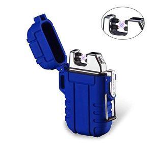 Mechero de Plasma, Teepao Dual Arc Mechero USB recargable sin llama a prueba de viento encendedor de cigarrillos impermeable eléctrico bolsillo encendedor 12