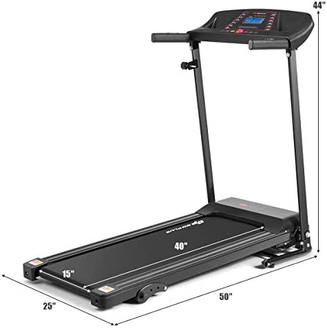 Goplus Electric Folding Treadmill, Adjustable Incline and Low Noise Design, with LCD Display and Heart Rate Sensor, Compact Running Machine for Home Use 9