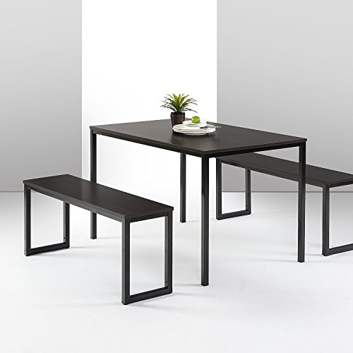 Zinus Louis Modern Studio Collection Soho Dining Table with Two Benches / 3 piece set, Espresso