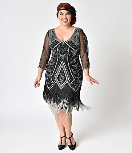 Plus Size 1920s Style Black & Silver Beaded Sleeved ...
