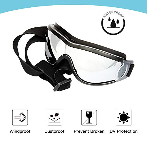 PEDOMUS Dog Sunglasses Dog Goggles Adjustable Strap for Travel Skiing and Anti-Fog Dog Snow Goggles Pet Goggles for Medium to Large Dog 3