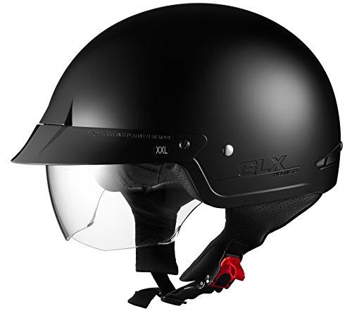 GLX Cruiser Scooter Motorcycle Half Helmet DOT Approved + 2 Retractable Visors (Matte Black, Medium)