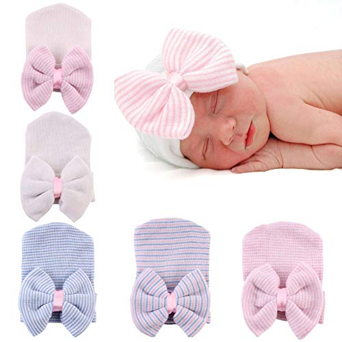 Upeilxd Newborn Hospital Hat Infant Baby Hat Caps with Bow/Hairball Soft Cute Nursery Beanie Hat (5pack Bow / 0-6 Month)