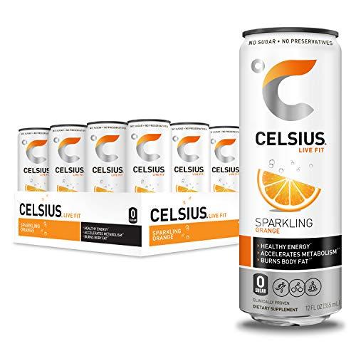 CELSIUS Sparkling Orange Fitness Drink, Zero Sugar, 12oz. Slim Can, 12 Pack 3