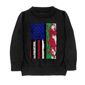 HJKNF58Q Wales American USA Flag Pride Sweater Youth Kids Funny Crew Neck Pullover Sweatshirt