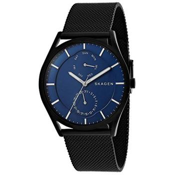 Skagen Men's Holst Quartz Stainless Steel and Leather Casual Watch, Color: Silver-Tone, Brown (Model: SKW6449)