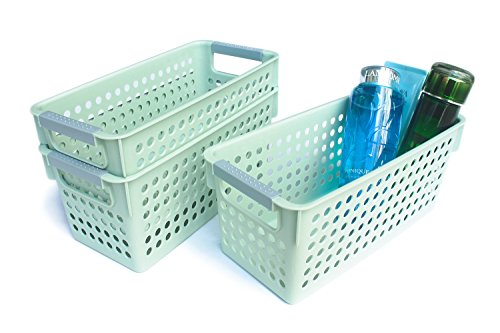 Honla Slim Green Plastic Storage Baskets/Bins Organizer with Gray Handles,Set of 3