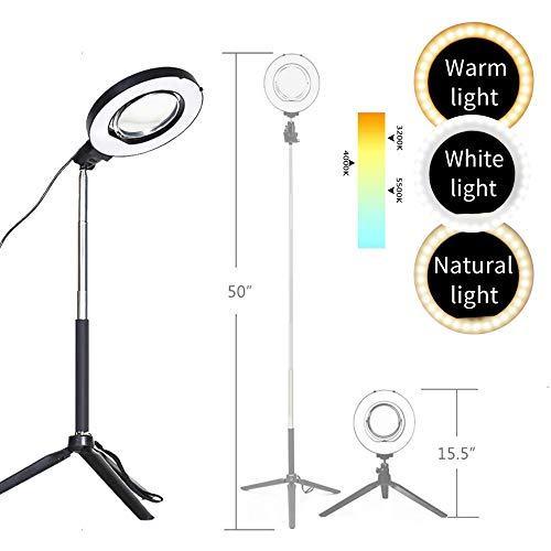 Dimmable Ring Light with Adjustable Height Light Stand,Selfie Stick and USB Plug,6″ 3200K~5500K Beauty Table Top Lamp with Makeup Mirror,Mini Tripod and Phone Clamp, Perfect for Vlogs,YouTube Channel