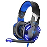 VersionTECH. G2000 Stereo Gaming Headset for Xbox One PS4 PC, Surround Sound Over-Ear Headphones with Noise Cancelling Mic, LED Lights, Volume Control for Laptop, Mac, PS3, Nintendo Switch Games -Blue
