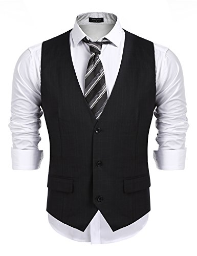38341991967 COOFANDY Men's Business Suit Vest,Slim Fit Skinny Wedding Waistcoat -  Fashion