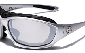 Oversized Choppers Men's Sport Padded Motorcycle Bikers Sunglasses SILVER MIRROR