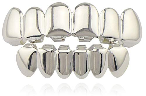 Big Dawgs Bling Hip Hop Silver Platinum Halloween Pimp Costume Player Mouth Teeth Grillz 2 pc Set