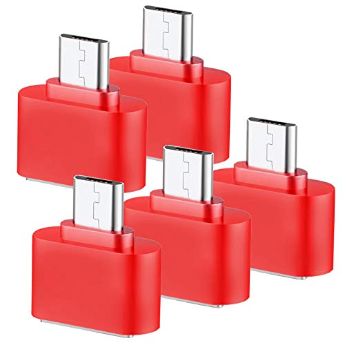 Storite Cute Little Square OTG Adapter for Smartphones & Tablets (5-Pack-Red) 69