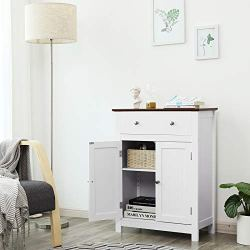 VASAGLE Free Standing Bathroom Storage Drawer and Adjustable Shelf, Kitchen Cupboard, Wooden Entryway Floor Cabinet, 23.6 x 11.8 x 31.5 Inches, White & Brown UBBC62WT