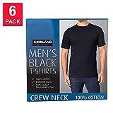 Kirkland Signature Men's Crew 100% Cotton Tagless Neck Tee, 6-Pack (Black, Large)