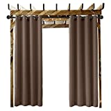 ChadMade Outdoor Waterproof Curtain Chocolate 84' W x 96' L Grommet Eyelet in Front Porch Pergola Cabana Covered Patio Gazebo Dock and Beach Home (1 Panel)