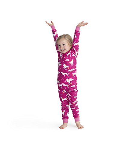 Hatley Girls' Little Organic Cotton Long Sleeve Printed Pajama Sets, Rainbow Unicorns, 5 Years