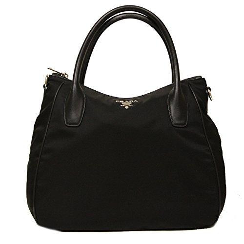 41X6LB34gyL Prada Nero Black Tessuto Soft Calf Leather and Nylon Hobo Handbag BR4992 Art: BR4992 Material: Tessuto + Soft Calf Leather (Nylon and calf leather)
