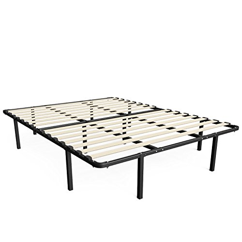 Zinus Cynthia 14 Inch MyEuro SmartBase / Wooden Slat / Mattress Foundation / Platform Bed Frame / Box Spring Replacement, Queen